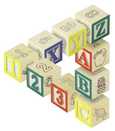 Een driehoekje penrose is gemaakt op basis van alfabet blokken. Letters A, B, C, X, Y en Z en getallen 123 zijn uitgerust.