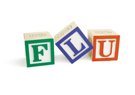 Alphabet blocks forming the word 'FLU' and viewed from the front and slightly to the left.  The L block is tilted. Stock Photo - 6038799