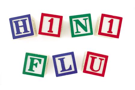 Alphabet blocks arranged to form 'H1N1 FLU' in two rows.  Subject is viewed from above. Stock Photo - 6053531