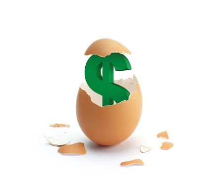 A green dollar sign hatching from a brown egg.