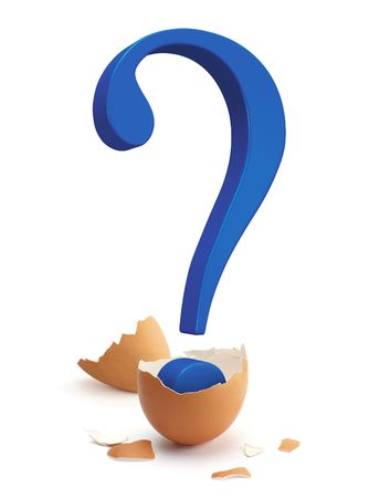 A blue question mark sign hatching from a brown egg. photo