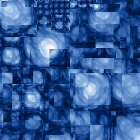 A fractal background composed of overlapping rectangles of abstract blurred shapes, each varying from dark blue to light blue.