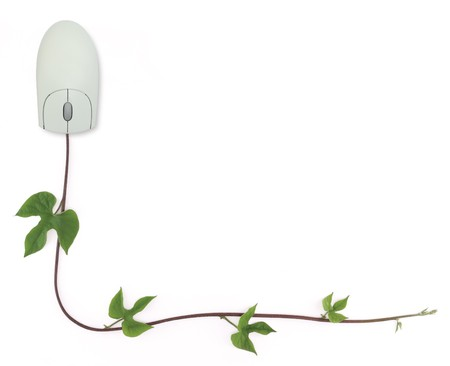 scroll border: A border formed by a computer mouse with a green vine as its cord symbolizing concepts from convergence of digital and green technologies to online gardening forums. Stock Photo