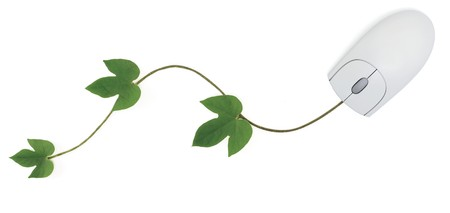 A three-button computer mouse with a green vine as its cord symbolizing concepts from convergence of digital and green technologies to using an online gardening forum.