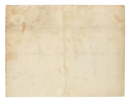 worn paper: Papel de a�os de edad y desgastado con pliegues, manchas y manchas.