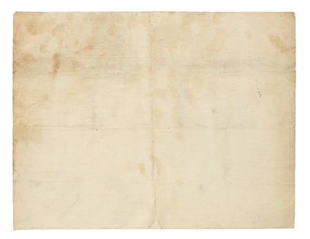 Aged and worn paper with creases, stains and smudges.