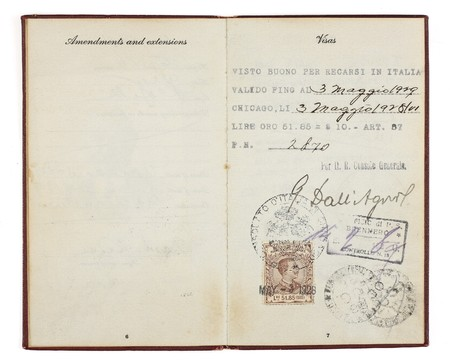 A U.S. Passport from the 1920s open to two facing pages with customs stamps from 1928 Italy.