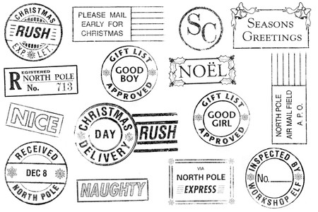 A set of 15 large, Christmas-themed stamps isolated on white. Ideal for bitmap brushes, holiday collages, etc. photo