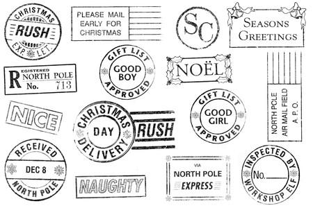 Een set van 15 grote, kerst-thema postzegels geïsoleerd op wit. Ideaal voor bitmap borstels, Vakantiewoningen collages, enz. Stockfoto