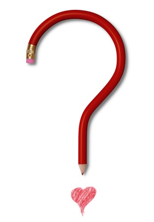 eraser mark: A red pencil with a gold ferrule and pink eraser forming the shape of a question mark. The question marks dot is a red heart, drawn in pencil. Image is on white background and includes clipping path.