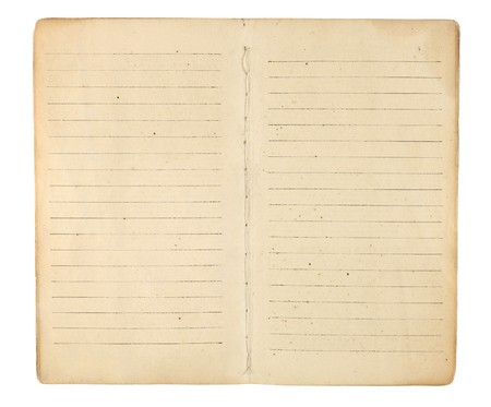 lined: An old memo book or diary opened to reveal yellowing, blank, lined facing pages ready for images and text. Isolated on white. Includes clipping path.