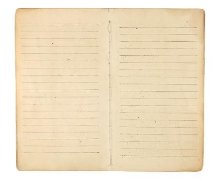 Een oud memo boek of dagboek geopend voor vergeling, blank, omzoomd tegenoverliggende pagina's klaar zijn voor afbeeldingen en tekst zichtbaar te maken. Geà ¯ soleerd op wit. Inclusief het knippen van weg. Stockfoto