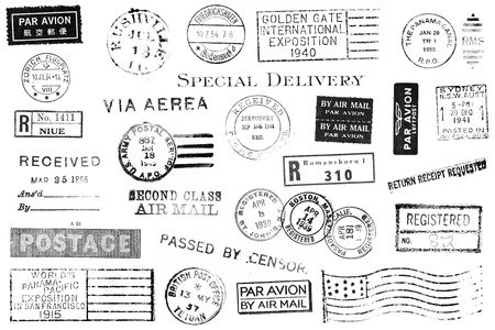 vintage postcard: A set of nineteen large postal marks mostly from the 1930s and 1940s isolated on white. Ideal for brushes, retro collages, etc. Stock Photo