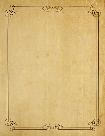 Aged and worn paper with abrasions, and creases and moderately ornate border printed in black ink, but page is otherwise blank with room for text or images.