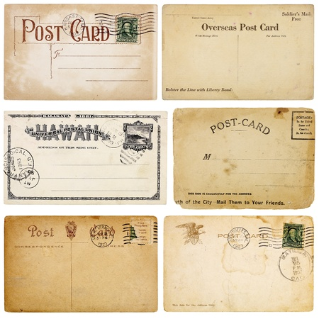 A set of six heavily aged postcards from early 1900s. Each card is blank with room for your text and images.  Banque d'images