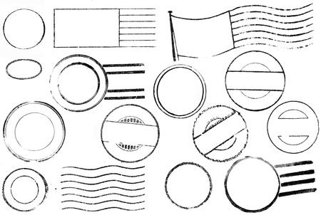 sello postal: Un conjunto de marcas postales en blanco y cancelaciones desde el siglo XIX a trav�s de los a�os 1940 aislados en blanco. Ideal para los pinceles de mapa de bits, collages retro, etc..
