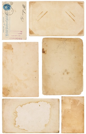 Collection of six aged, worn and stained paper scraps isolated on white. Most with room for text or images. Stock Photo - 8965927