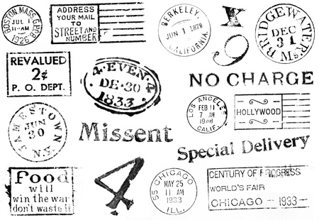 A set of large postal marks mostly from the 1800s through the 1940s isolated on white. Ideal for bitmap brushes, retro collages, etc.