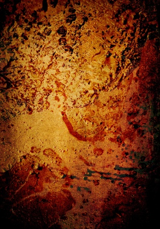 Vibrant, grimy urban background featuring molten texture and vibrant reds, oranges and yellows. photo