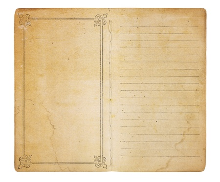grime: An old memo book opened to reveal yellowing, stained pages. One page is empty except for a border; the other is lined. Both have room for images and text. Isolated on white. Includes clipping path. Stock Photo