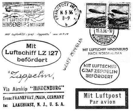 黒と白の消印とメールから関連のマーキングのコレクションは、1930 年代にヒンデンブルクと Graf Zeppelin が掲載しています。白で隔離されます。 写真素材