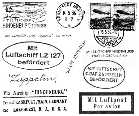 hindenburg: A collection of black and white postmarks and related markings from mail carried on the Hindenburg and Graf Zeppelin in the 1930s. Isolated on white. Stock Photo