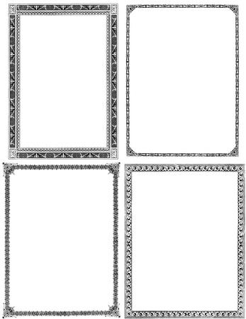 Verzameling van vier oud en licht verontrust sierlijke frames uit de negentiende eeuw. Zwart op wit wordt geïsoleerd. Elk ongeveer 9x7 inch. Stockfoto