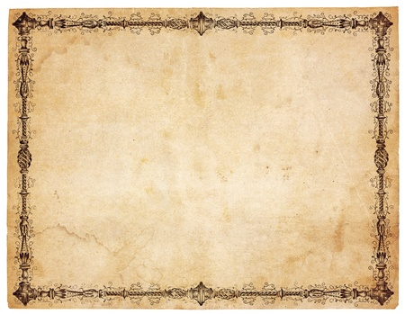 paper sheet: Aged, yellowing paper with stains and smudges. Blank except for very ornate victorian border. Isolated on white.