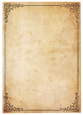 Aged, yellowing paper with stains and smudges. Blank except for printed border with ornate corners. Isolated on white. Includes clipping path. photo