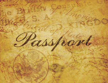 used stamp: A collage of elements from the weathered pages of a vintage 1920s passport. Stock Photo