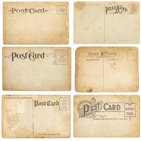 1900 년대 초반에 무겁게 노화 된 6 장의 엽서 세트. 엽서에는 텍스트 및 이미지를위한 공간이 비어 있습니다. 클리핑 패스와 함께 흰색에 격리.