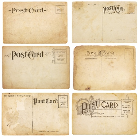 A set of six heavily aged but unstamped post cards from early 1900s. Postcards are blank with room for your text and images. Isolated on white with clipping paths. photo