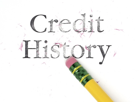 credit card bills: Close up of a yellow pencil erasing the words, Credit History. Isolated on white. Stock Photo