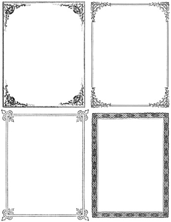 filagree: Collection of four moderately distressed fancy frames from the nineteenth century. Black isolated on white. Each approximately 9x7 inches.