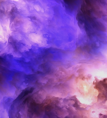 Backlit surreal, stormy clouds shading from dark purples and reds to light blues and yellows symbolizing a range of concepts such as creation, the birth of stars, or an ominous maelstrom.
