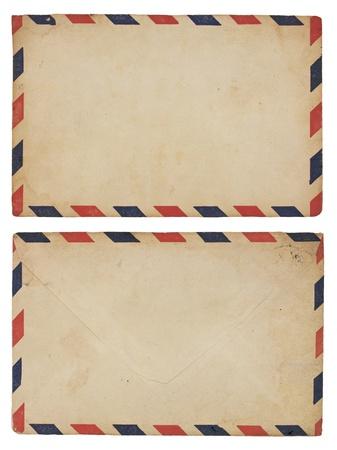 前後の高齢化の航空便の赤と青の縞模様の境界線のエンベロープ。
