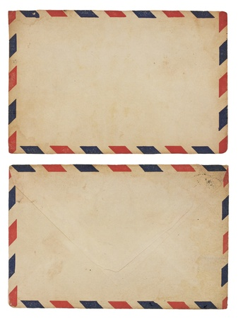 The front and back of an aging airmail envelope with red and blue striped border.