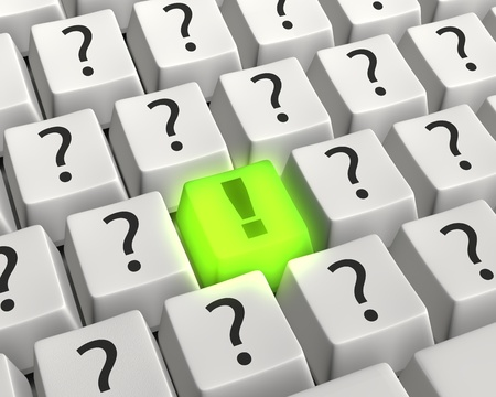 Close up photo-real illustration of a computer keyboard with a green glowing exclamation key surrounded by white question mark keys conveying a bold solution, answer or idea amid technology questions. Stock Photo
