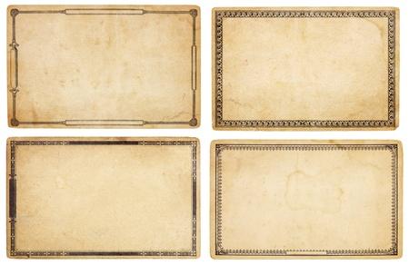 大きく高齢者、空白カードの 4 枚の汚れ、しわ、涙とのセット。各カードには別の昔ながらの装飾的な境界線。白で隔離されます。クリッピング パ