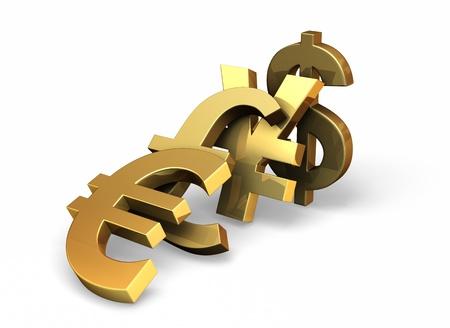 belangrijke valuta symbolen kantelen elkaar over als dominostenen. Stockfoto
