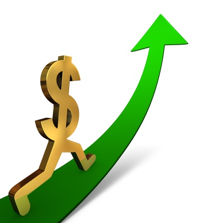 ascent: Illustration of a gold dollar sign beginning a confident ascent on an up-curving Arrow. On white with drop shadow. Stock Photo