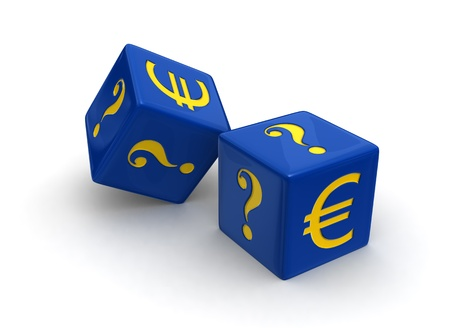 photoreal: Photo-real illustration of two blue dice engraved with yellow Euro and question mark symbols on white background.