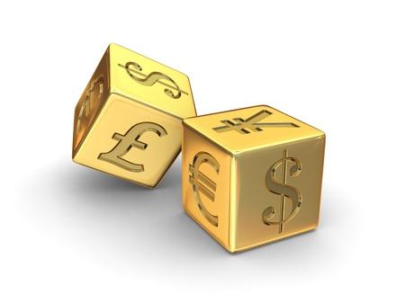 Twee Gouden dobbelstenen gegraveerd met Dollar, Yen, Euro en Pond valuta symbolen op een witte achtergrond.