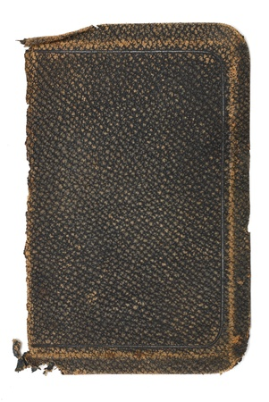 Deeply textured and very worn old black leather book cover photo