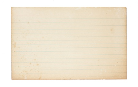 index card: An old, yellowing, lined index card. Card is stained, spoted and worn in places.