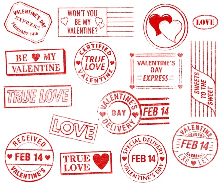 cancellation: A set of 15 large, Valentines Day-themed stamps isolated on white. Ideal for bitmap brushes, retro collages, etc. Stock Photo