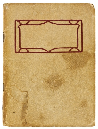 water stained: An old booklet viewed from above. The yellowing cover is water stained and creased with rough edges and dog-eared corners and is blank except for a decorative red title border. Isolated on white with clipping path. Stock Photo