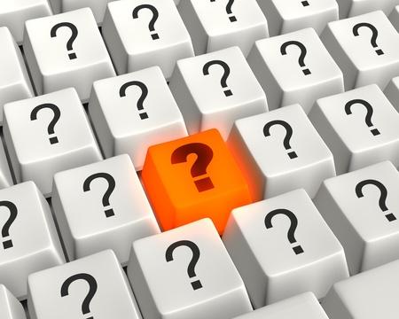 写真リアル オレンジ色、白い疑問符キーによって囲まれた輝く質問キーでコンピューターのキーボードの図を閉じます。 写真素材