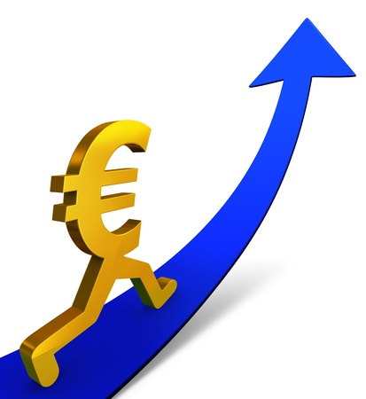 A gold Euro sign beginning a confident ascent on an up-curving Arrow. Isolated on white with drop shadow.