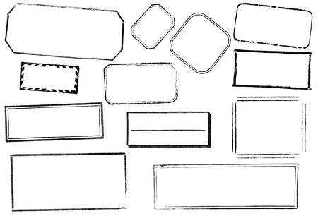 12 の空白の四角形のスタンプの様々 な。黒、白で隔離されます。ビットマップ ブラシ、レトロなコラージュなどに最適です。 写真素材